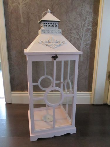 Chalk Paint Pink & White Square Lantern